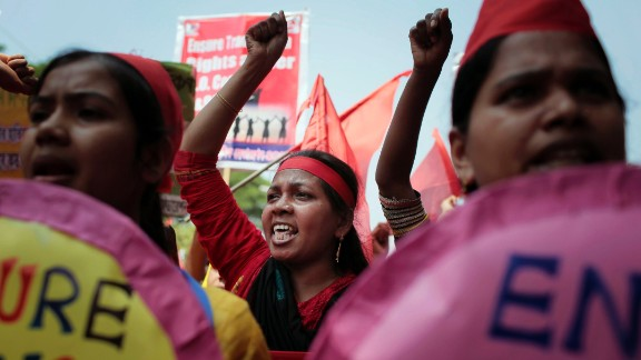 Garment workers and activists shout during a May Day rally demanding a better work environment in Dhaka, Bangladesh.