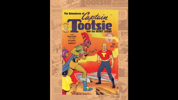 Captain Tootsie debuted in assorted titles in 1943. He was a defender of justice and a mascot for Tootsie Rolls candy.