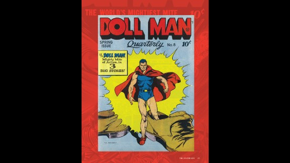 """Darrell """"Doll Man"""" Dane packed a lot of power in his small frame (height 6 inches, inseam 3 inches). He debuted in """"Feature Comics #27"""" (Quality Comics, December 1939) and made a career out of shrinking."""
