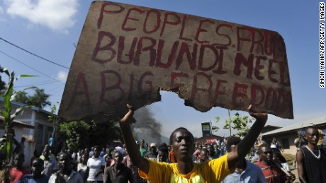 Burundian youth demonstrate in Musaga on the outskirts of the capital Bujumbura on April 28.