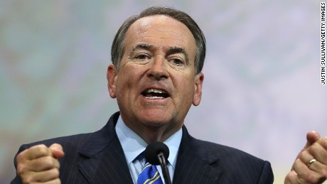Former Arkansas Gov. Mike Huckabee speaks during the NRA-ILA Leadership Forum at the 2015 NRA Annual Meeting & Exhibits on April 10, 2015 in Nashville, Tennessee.