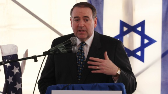 Huckabee attends a corner stone dedication ceremony for a new Jewish settlement in East Jerusalem on January 31, 2011.
