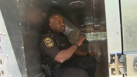 Inside a prisoner transport van