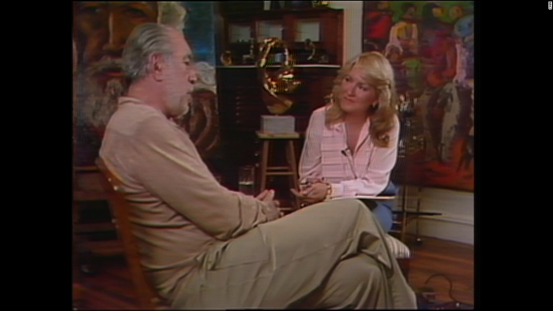 "Sandi Freeman interviews actor Anthony Quinn in a 1984 episode of ""Freeman Reports."" ""Freeman Reports"" aired for five years."