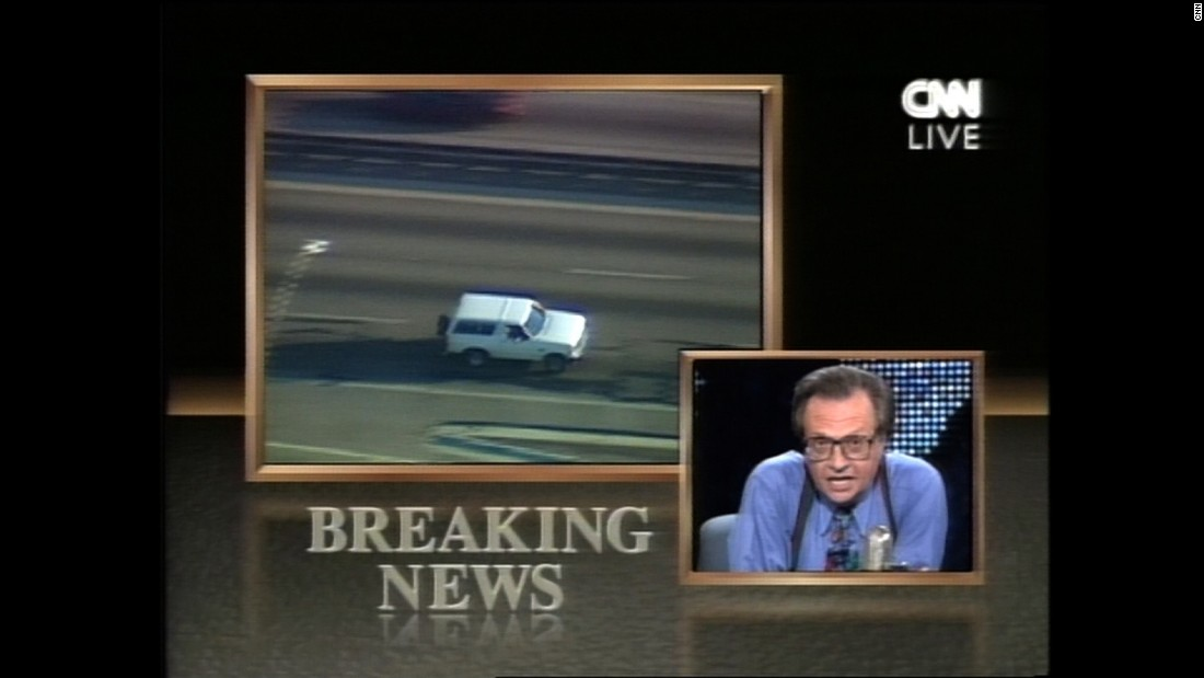 In one of the most memorable broadcasts of all time, Larry King anchors during O.J. Simpson's 1994 slow-speed chase.