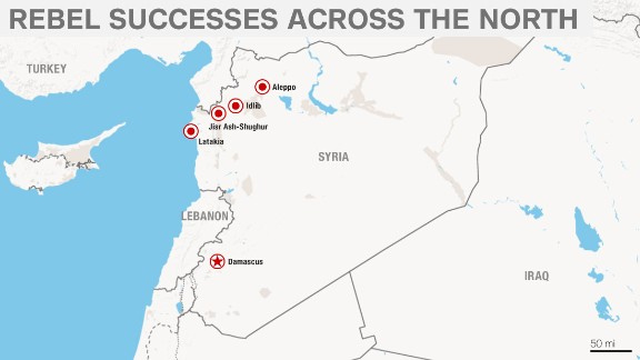 Rebels are making advances in key cities like the coastal supply town of Latakia and the strategic city of Aleppo.