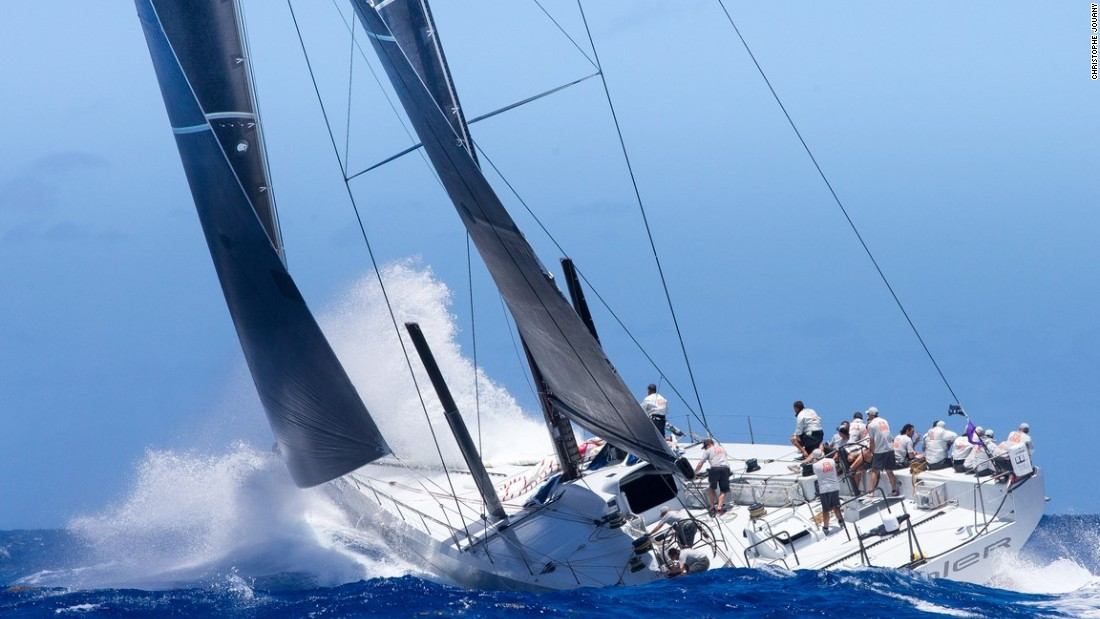 "A plume of spray rises from the bows of Rambler 88 as she sets course. ""This boat is wicked quick, and I think we'll do even better in the future,"" owner David told the regatta website. ""I don't count us out for records, including the one for the Transatlantic Race 2015."""