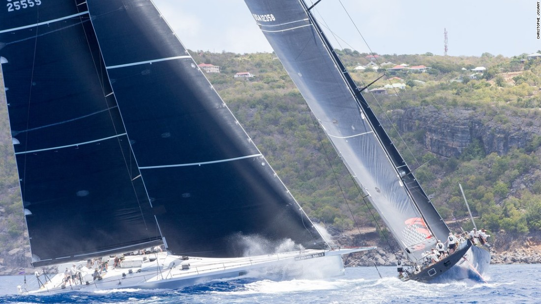 Rambler 88 and Comanche steer towards the shore during one of their compelling race tussles.