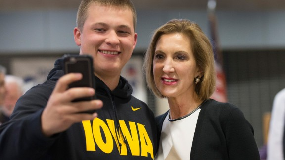 Fiorina, right, poses for a selfie with Joe Koberna at the Johnson County Republicans Spaghetti Dinner at Clear Creek Amana High School on April 24, 2015, in Tiffin, Iowa.