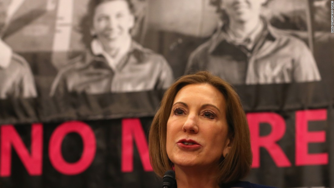 Fiorina speaks during a forum on Capitol Hill March 16, 2015, in Washington. Fiorina spoke about what she calls the War on Women in politics.