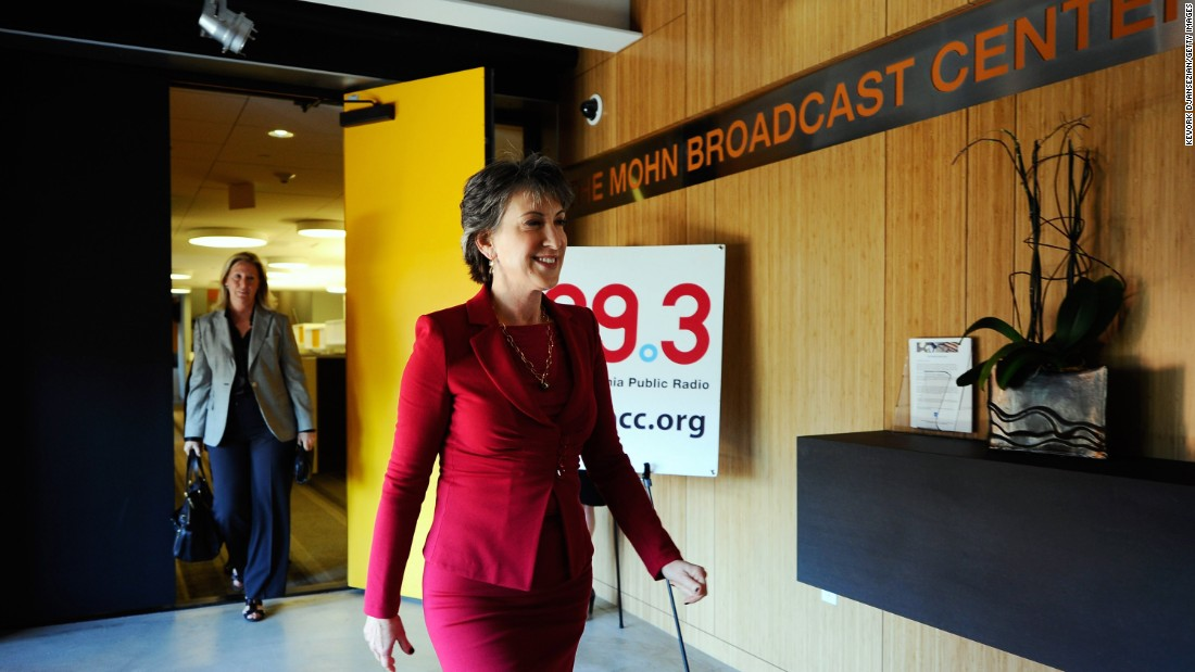 Fiorina arrives for a news conference after participating in a debate with U.S. Sen. Barbara Boxer, D-California, in a radio debate hosted by La Opinion and public radio station KPCC on September 29, 2010, at the KPCC studios in Pasadena, California.