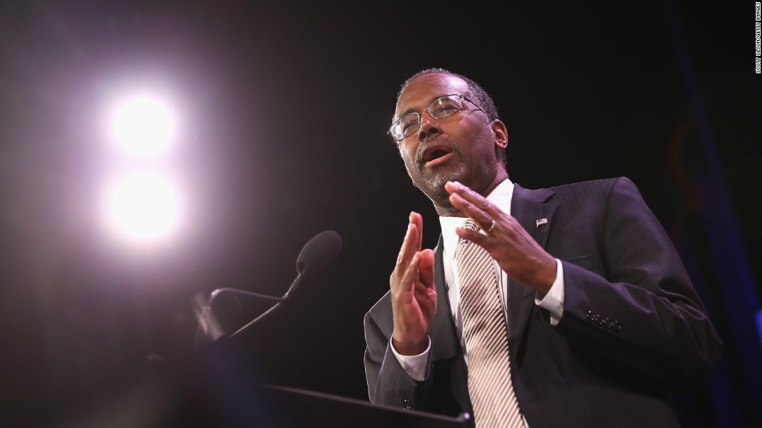 Carson speaks to guests at the Iowa Freedom Summit on January 24, 2015, in Des Moines, Iowa.