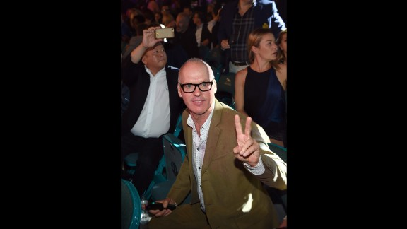 Actor Michael Keaton is ringside for the long-anticipated bout.