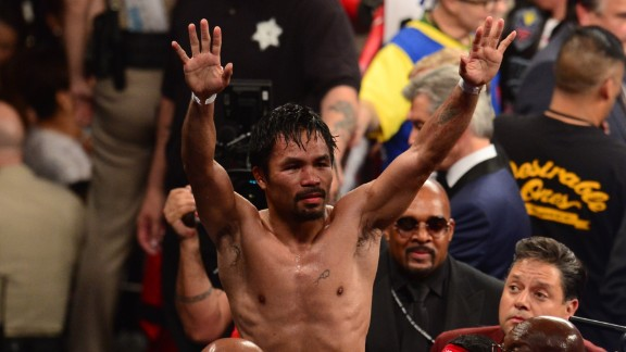 Manny Pacquiao reacts after his fight against Floyd Mayweather.