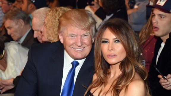 Donald Trump and model Melania Trump at ringside.