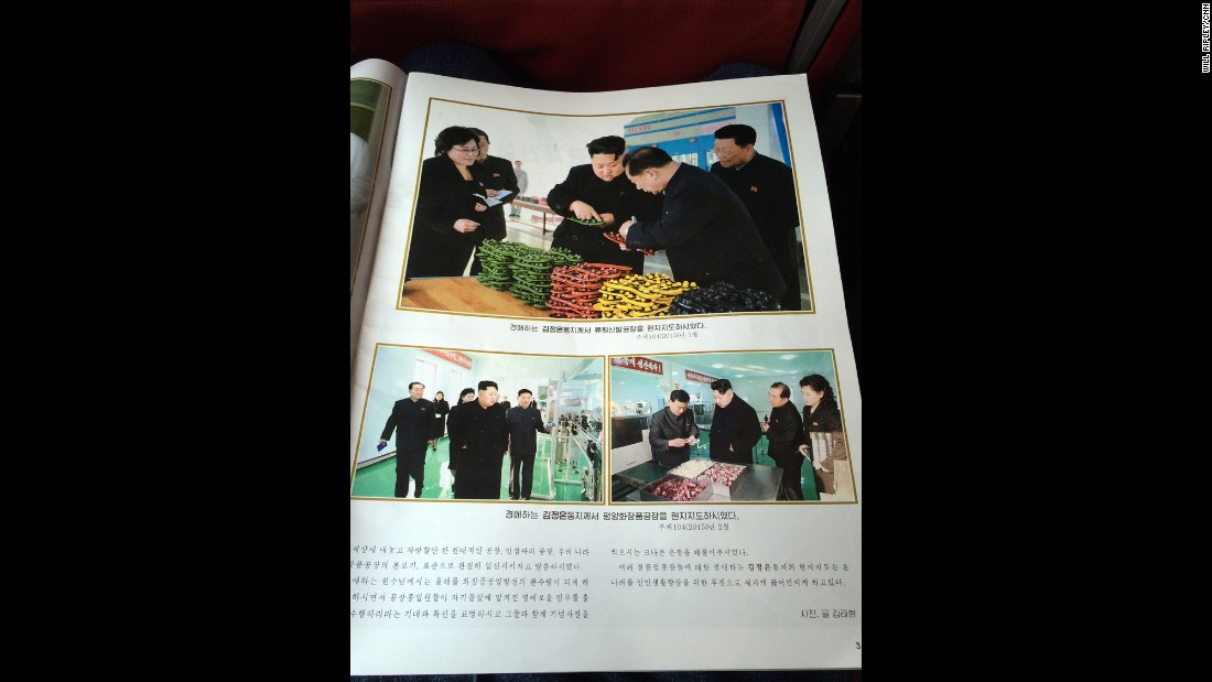 The inflight magazine features multiple pages on Supreme Leader Kim Jong Un.