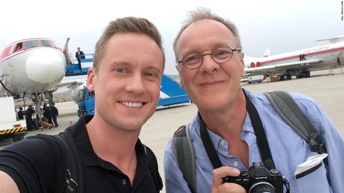 CNN correspondent Will Ripley and photojournalist Brad Olson take a selfie shortly after landing in Pyongyang on May 2.