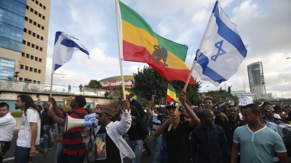 Ethiopian protestors fill a street in Tel Aviv during a recent demonstration.