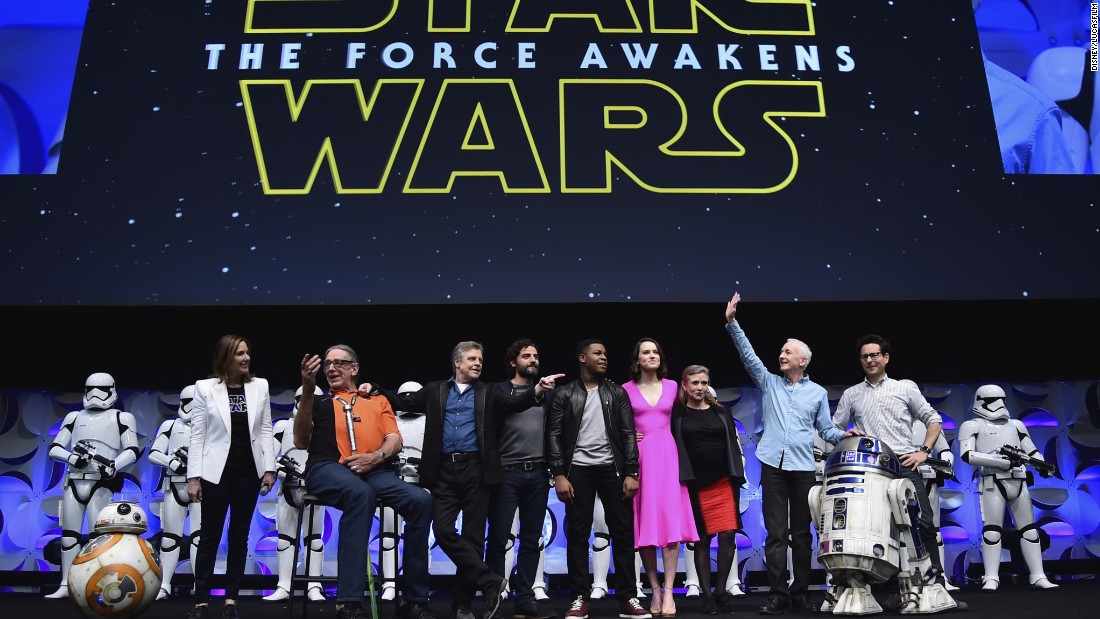"""The Force Awakens"" cast, along with droids, executive producer Kathleen Kennedy and director J.J. Abrams, appeared at the Star Wars Celebration fan convention in April."