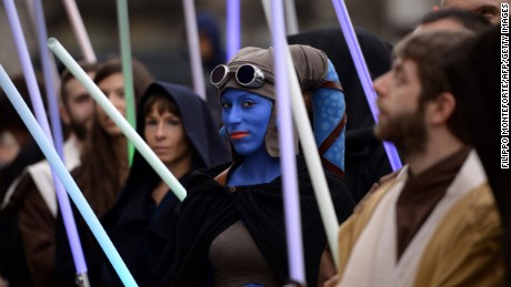 "A cosplayer dressed as ""Star Wars"" character Aayla Secura attends a Star Wars Day event in Milan on May 3"