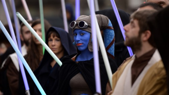"""A cosplayer dressed as """"Star Wars"""" character Aayla Secura attends a """"Star Wars Day"""" event in Milan, Italy, on May 3"""
