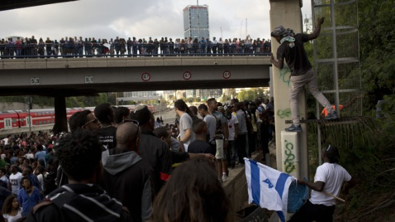 Protesters in Tel Aviv block a highway on May 3. Several thousand people, mostly from Israel's Jewish Ethiopian minority, were protesting against racism and police brutality.