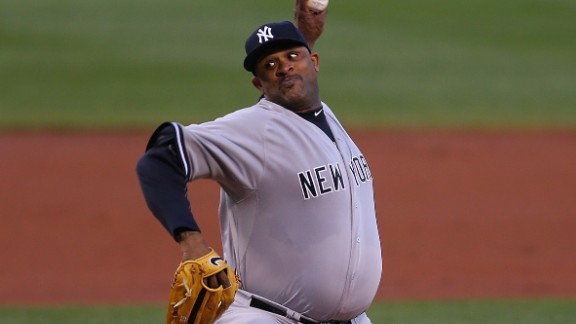 Former Cy Young award winner C.C. Sabathia of the New York Yankees is 201 centimeters tall (6-foot 7-inches) and weighs 138 kilograms (304 pounds), giving him an obese body mass index (BMI) of 34. The pitcher, 34, is playing in his 15th MLB season.
