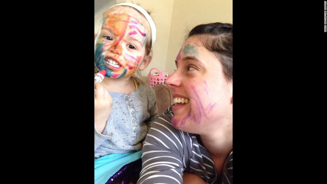 """One of my proudest moments as a mother: Letting my 3-year-old daughter color on my face. When she asked to color me, this gave me a new 'aha moment': Live a little, even out of my comfort zone."" -- Tanya Wilson, St. Thomas, Ontario"