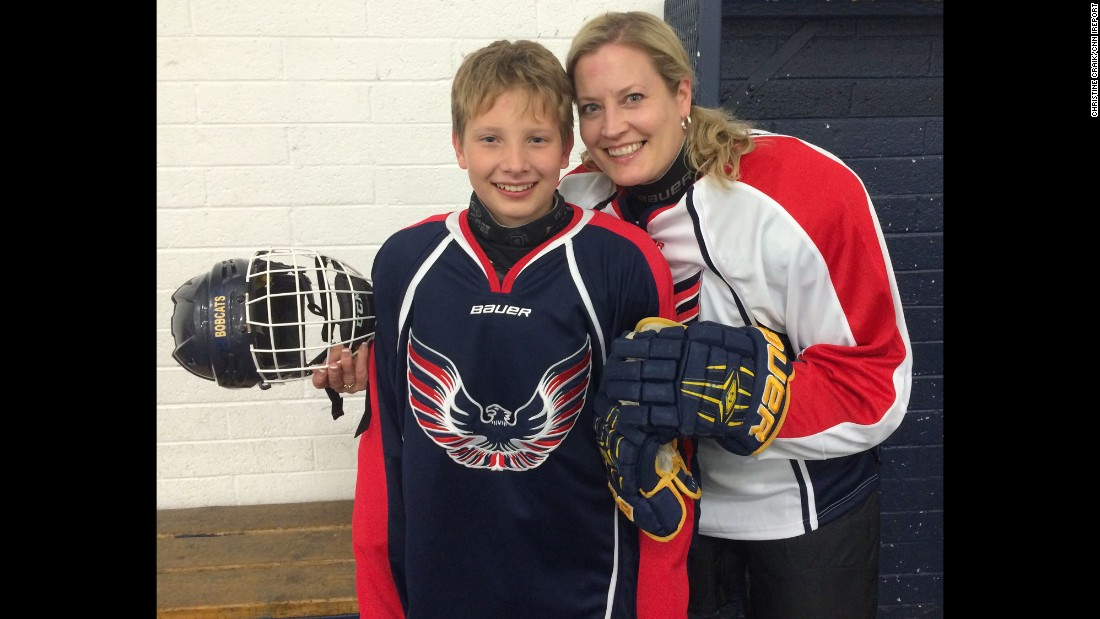 """At the end of the minor hockey season, when the traditional parent/player game rolls around, I'm usually on the sidelines watching the game. ... This year, I decided to jump in and give it a try, because my little boy asked me to -- and we both had so much fun laughing at my lack of skill and wobbly sprints down the ice!"" -- Christine Craik, Scottsdale, Arizona"