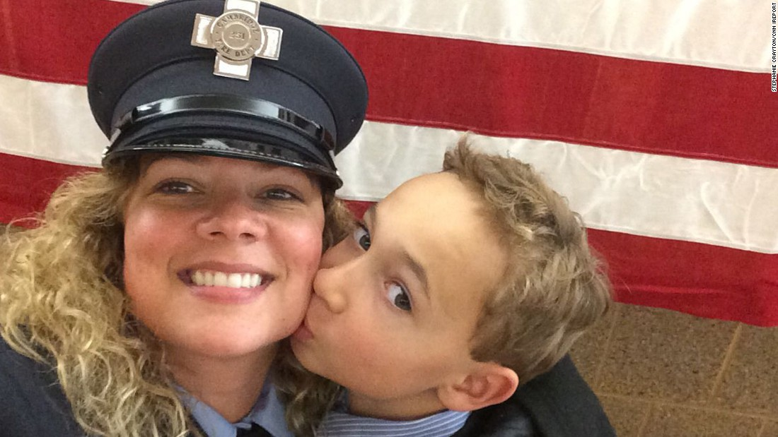 "Moms share their everyday triumphs in parenting. ""In 2014, I completed the Massachusetts Fire Academy for the city of Cambridge, in which I grew up. I am a 42-year-old divorced mother with custody of my son. My proudest moment was being able to have my son pin my badge on my uniform during the badge ceremony for the city."" -- Stephanie Crayton, Cambridge, Massachusetts"