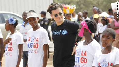 Youths use improv theater to spread information about Ebola. Orlando Bloom participates in the B4Youth pop-up theater in Monrovia.
