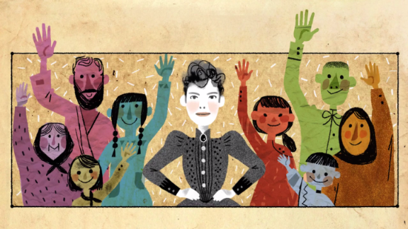 The May 5, Doodle in the United States honored pioneering journalist Nellie Bly. It was the first Doodle to feature an original song by Karen O of the Yeah Yeah Yeahs.