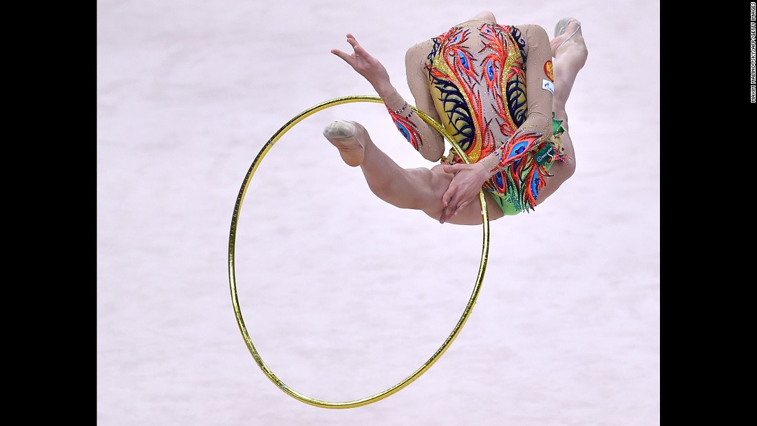 Russia's Aleksandra Soldatova performs during the individual final program at the 31st Rhythmic Gymnastics European Championships in Minsk, Belarus, on Sunday, May 3.