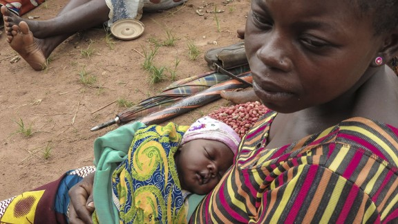 177. One in seven children in the Central African Republic do not reach their 7th birthday. Joselyn has brought her daughter Emily, 2 weeks old, to a Save the Children-supported health post to be vaccinated against diseases such as measles and polio.