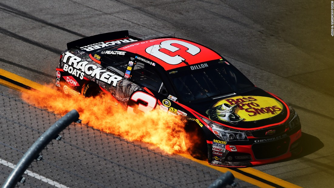 The car of Austin Dillon, driver of car No. 3, catches fire at Alabama's Talladega Superspeedway on Sunday, May 3.