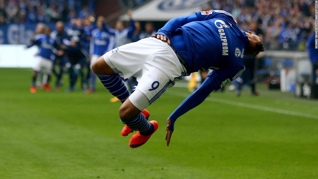 Kevin-Prince Boateng of Schalke celebrates the winning goal during a match with VfB Stuttgart on Saturday, May 2, in Gelsenkirchen, Germany.