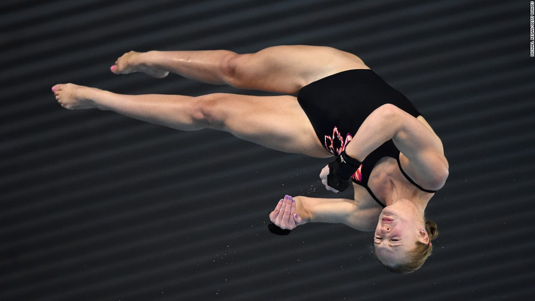 Great Britain's Sarah Barrow competes in the women's 10 meter semifinal on Sunday, May 3, during the FINA/NVC Diving World Series in London.