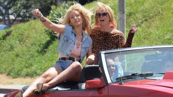 """Iggy Azalea and Britney Spears are seen on set of their music video on April 9 in Los Angeles. The song, called """"Pretty Girls,"""" leaked on Saturday, May 2. The two stars are set to perform the song on the 2015 Billboard Music Awards."""