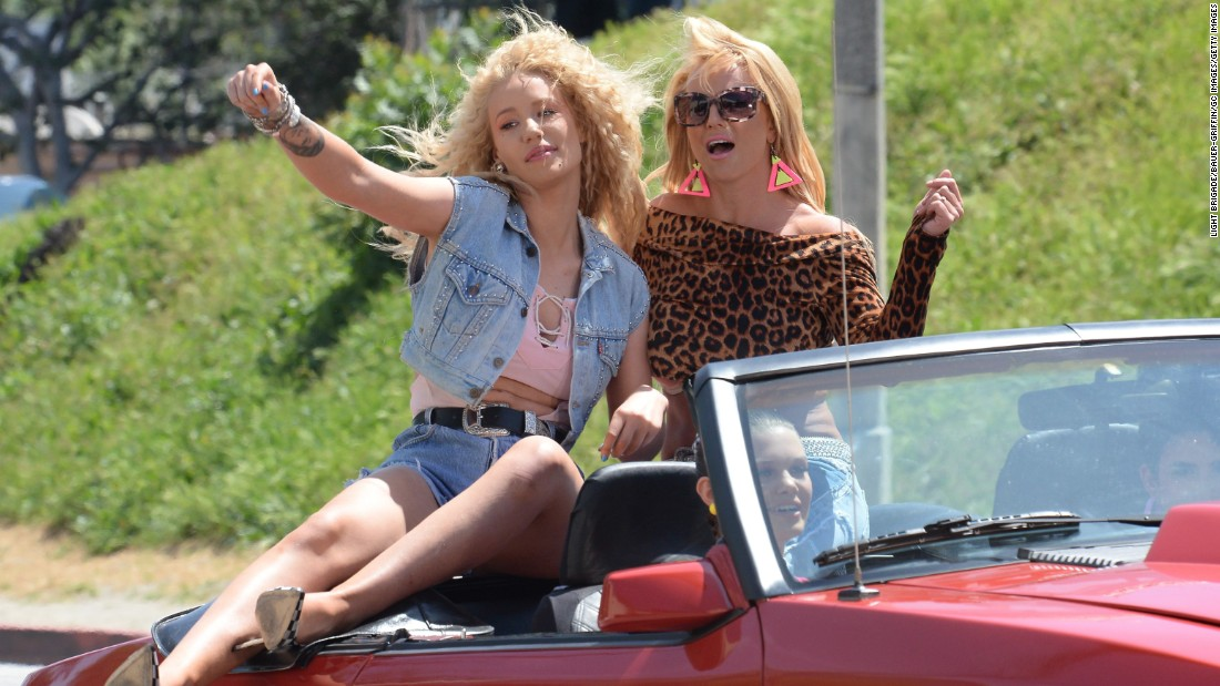 "Iggy Azalea and Britney Spears are seen on set of their music video on April 9 in Los Angeles. The song, called ""Pretty Girls,"" leaked on Saturday, May 2. The two stars are set to perform the song on the 2015 Billboard Music Awards."
