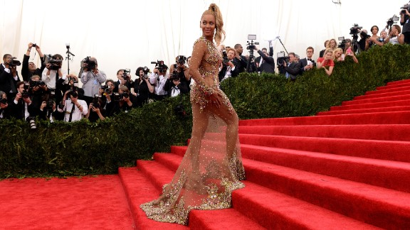 """Beyonce arrives at the Metropolitan Museum of Art's Costume Institute Gala in New York on Monday, May 4. The high-fashion event raises money in support of the museum's costume institute. The theme of this year's Met Gala, also called the Met Ball, is """"China: Through the Looking Glass."""""""
