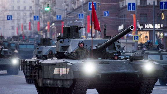 Russian new ARMATA T-14 tanks move along a street in Moscow as day breaks following Victory Day military parade night training on May 5, 2015. Russia celebrates the 70th anniversary of the 1945 defeat of Nazi Germany on May 9. AFP PHOTO / ALEXANDER UTKINALEXANDER UTKIN/AFP/Getty Images