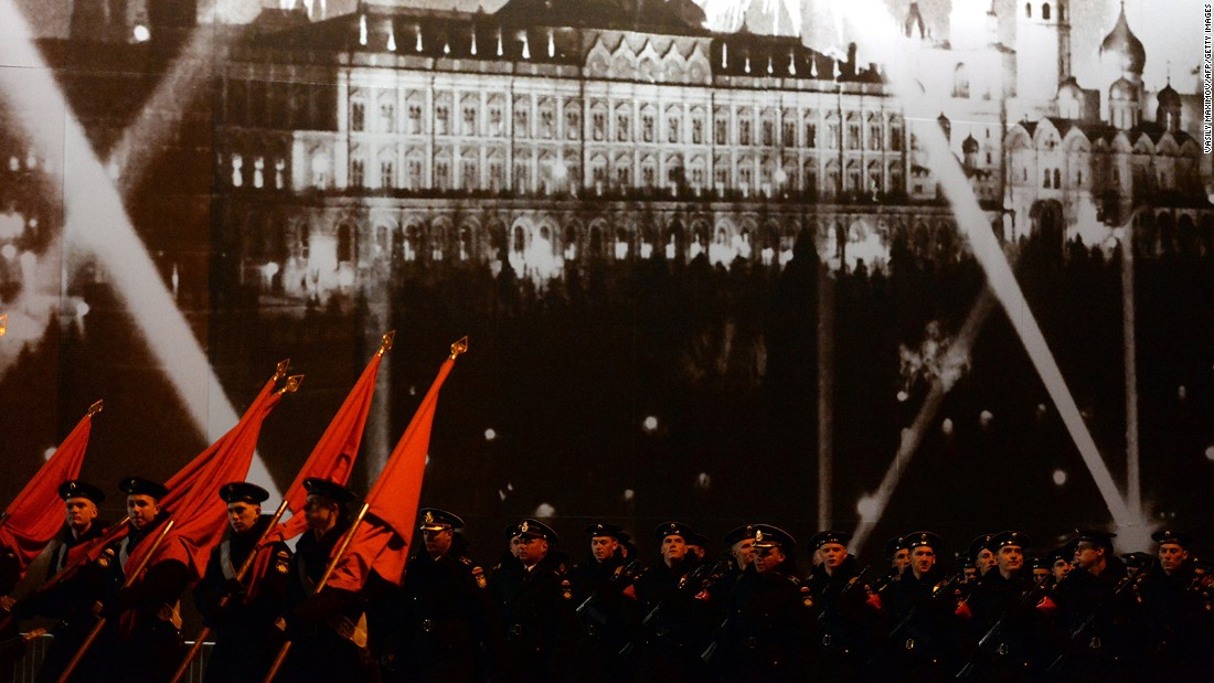 Russian soldiers attend the Victory Day military parade night training on Monday on Red Square in Moscow.