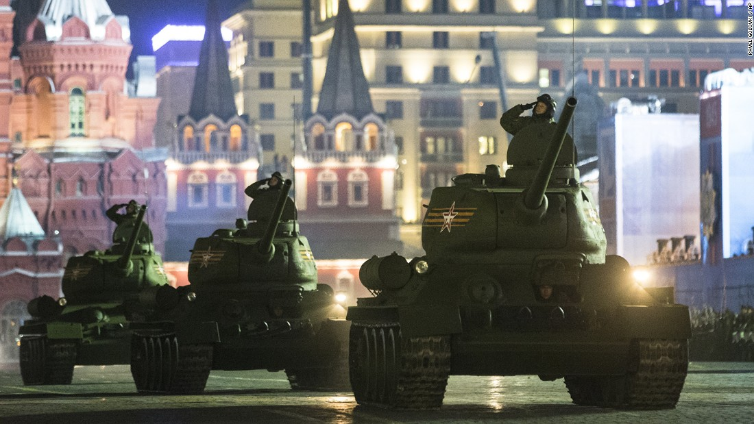 World War II-era Soviet tanks T-34 make their way through the Red Square during a rehearsal for the Victory Day military parade.