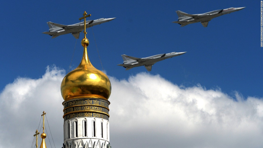 Russian Tupolev Tu-22M supersonic strategic bombers fly above the Kremlin's cathedrals in Moscow on May 5.