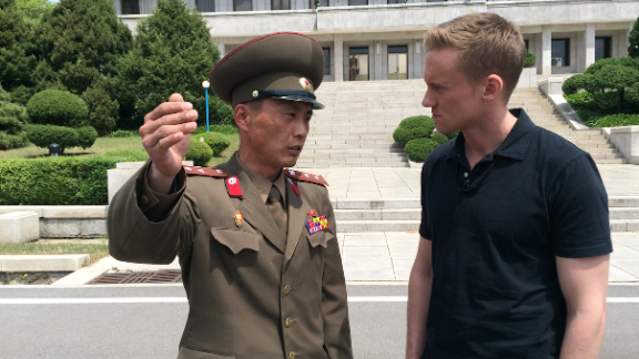 CNN correspondent Will Ripley and photojournalist Brad Olson traveled to North Korea after the regime offered them a surprise invitation to return to one of the most mysterious countries on earth. They aren't sure why the invitation was offered, what to expect, or even how long they'd be there. Check out the pictures they've taken to document their journey. HERE: Junior Lt. Colonel Nam Dong Ho speaks with Will Ripley, who was granted rare access to the DMZ on Monday, May 4, 2015.