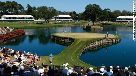 The precariously placed 17th hole at TPC Sawgrass, Florida, has claimed many victims over the years.