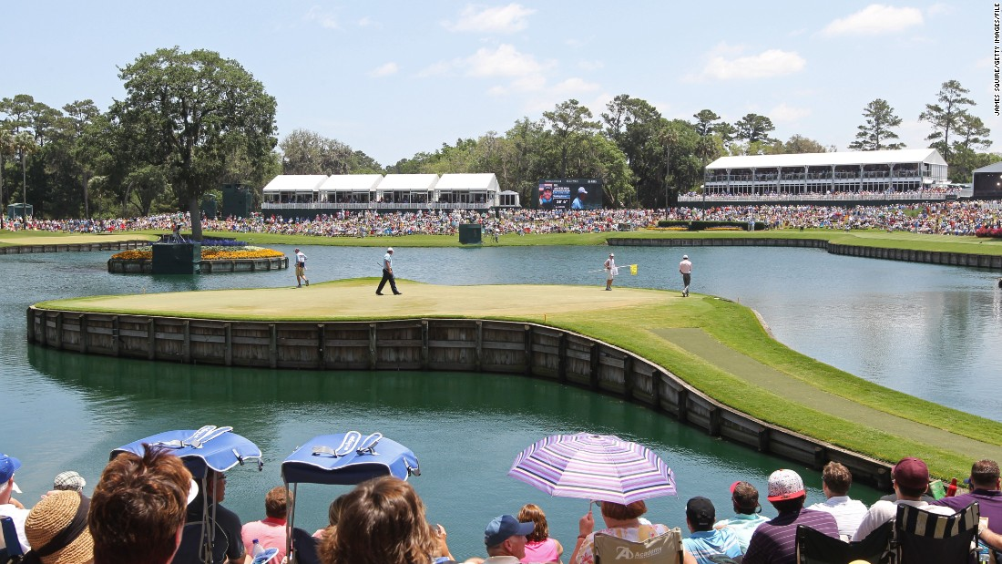 "One of the most fearsome holes in golf is TPC Sawgrass' ""Island Green"" (pictured.)As the name suggests, the notorious 17th hole is surrounded by water and has claimed many a victim over the years."