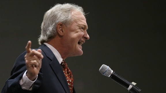 Potential Democratic presidential candidate Lincoln Chafee, a former U.S. senator from Rhode Island, delivers remarks at the South Carolina Democratic Party state convention in Columbia, South Carolina, on April 25.