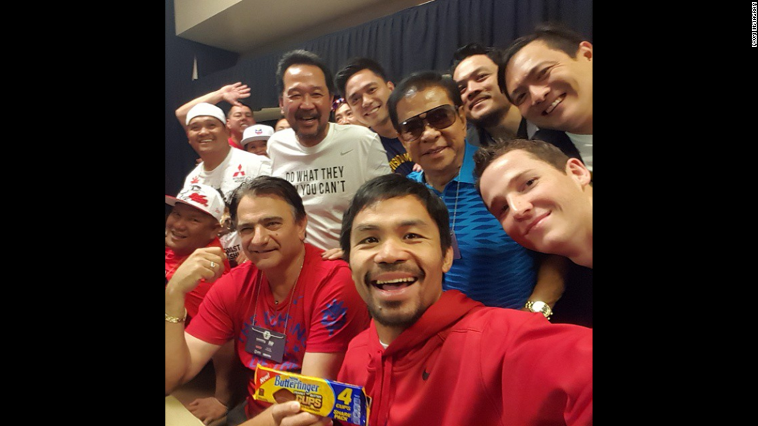 """Selfie before weigh-in,"" <a href=""https://instagram.com/p/2J4JKeOd88/"" target=""_blank"">Manny Pacquiao said</a> on Friday, May 1, posting to Instagram. The Filipino boxer <a href=""http://www.cnn.com/2015/05/02/sport/gallery/pacquiao-mayweather/index.html"">lost the bout </a>on Saturday, May 2, to champion Floyd Mayweather Jr, who claimed a unanimous points victory in the most lucrative boxing match in history."