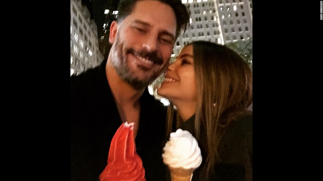 """Modern Family"" star Sofia Vergara <a href=""https://instagram.com/p/2PjH_Hrpf9/"" target=""_blank"">posted a photo</a> with her fiancé, ""True Blood"" star Joe Manganiello, in New York on Sunday, May 3, saying, ""Have to be up by 5 but we couldn't resist NY."""